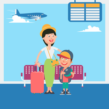 departure: Mother and Son Waiting to Departure to the Vacation in Airport. Vector illustration