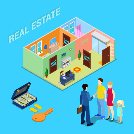 selling: Real Estate Business. Broker Agent Selling Apartment to Young Family. Isometric People. Vector illustration Illustration