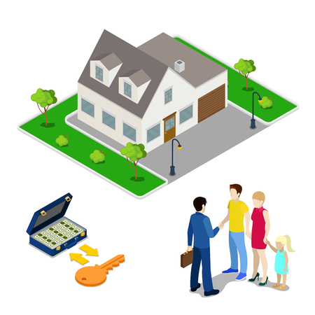 real people: Real Estate Business. Broker Agent Selling House to Young Family. Isometric People. Vector illustration Illustration