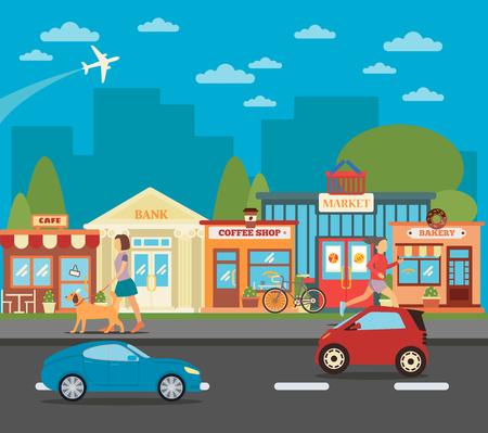 Pequeño pueblo. Paisaje urbano urbano con tiendas, las personas activas y los coches. ilustración vectorial