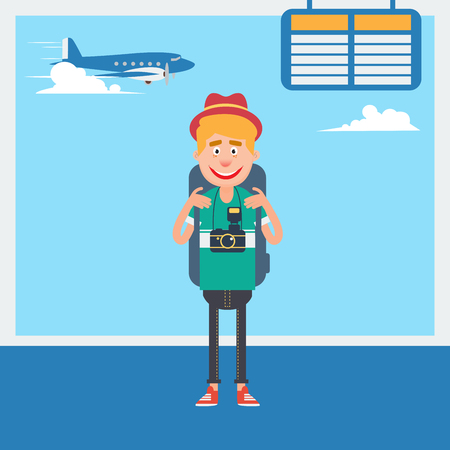departure: Happy Tourist Waiting to Departure to the Vacation in Airport. Vector illustration
