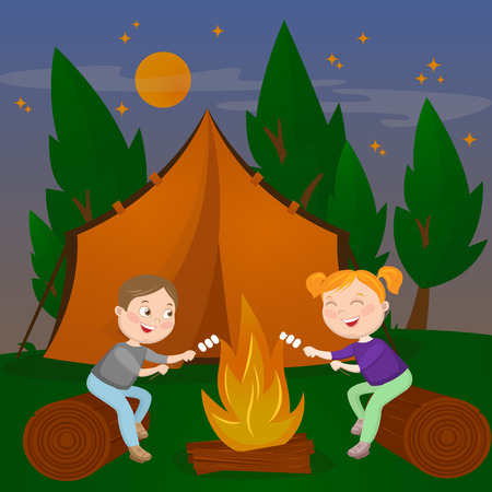 Children Summer Camp. Boy and Girl sitting by Fireplace. Bonfire with Marshmallow. Vector illustration Çizim