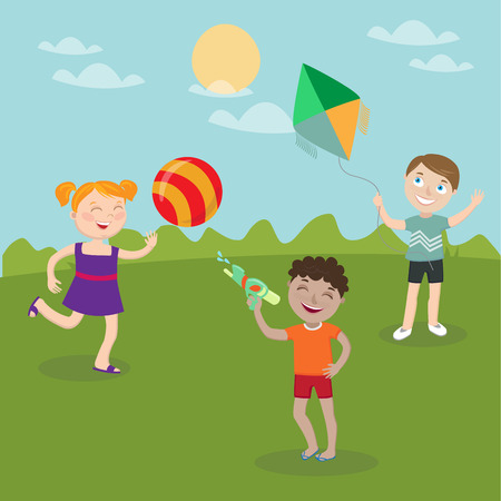girl gun: Happy Children Playing on the Nature. Girl with Ball. Boy Launches Kite. Boy with Water Gun. Vector illustration