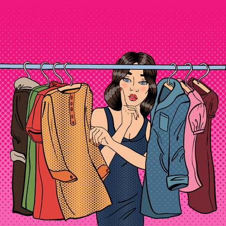 choosing clothes: Beautiful Young Woman Choosing Clothes in her Wardrobe. Pop Art. Vector illustration