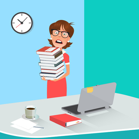 secretary office: Stressed Business Woman with Documents in Office. Vector illustration
