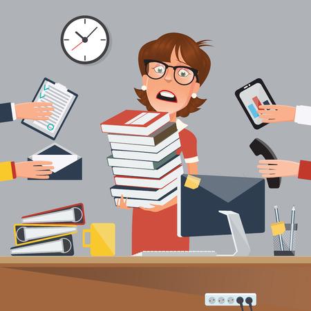 Mujer de negocios tensionada con documentos en la oficina. ilustración vectorial