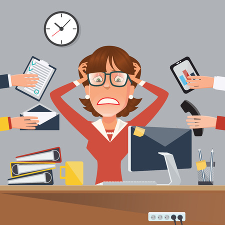 Multitasking Stressed Business Woman in Office Work Place. Vector illustration Stock Illustratie