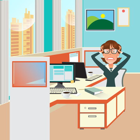 exhaustion: Stressed Business Woman with Documents in Office Work Place. Vector illustration Illustration