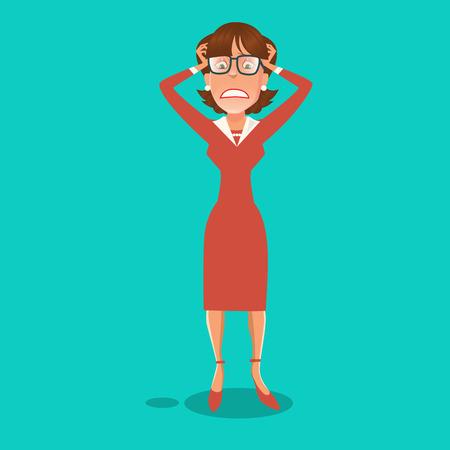 woman headache: Stressed Business Woman Having a Headache. Vector illustration