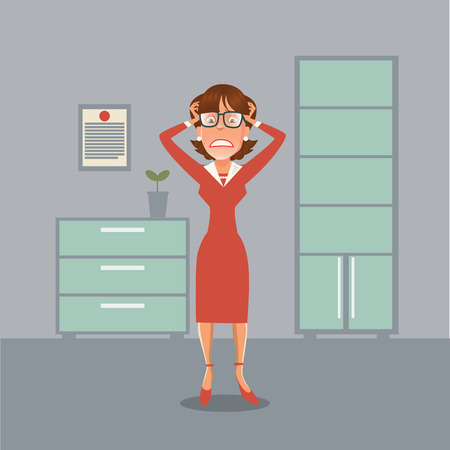 woman headache: Stressed Business Woman Having a Headache in Office. Vector illustration Illustration