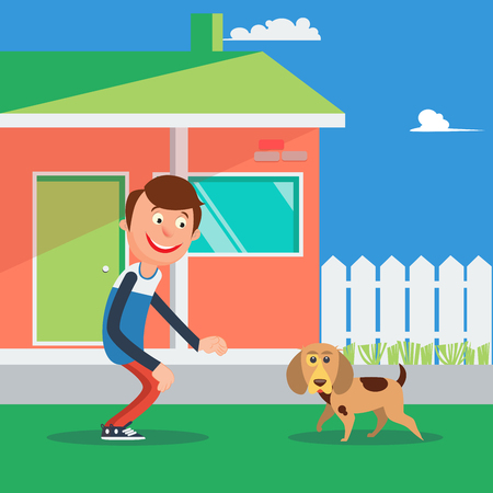 outside the house: Happy Boy Playing with Dog. Kid and Puppy. Vector illustration Illustration