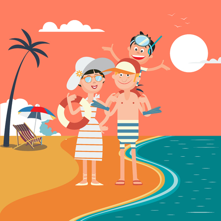 sky dive: Family Summer Vacation. Happy Family on the Sea. Vector illustration