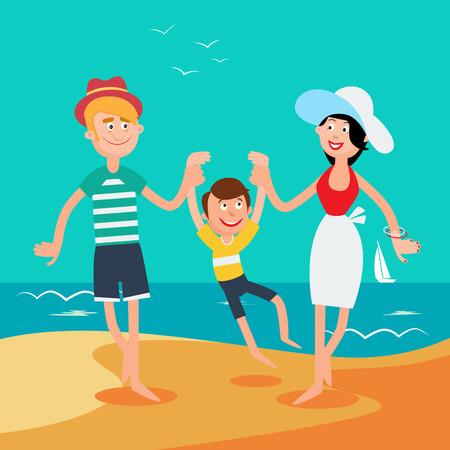 family vacation: Family Summer Vacation. Happy Family on the Sea. Vector illustration