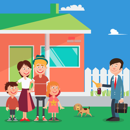 buying real estate: Happy Family Buying a New House. Real Estate Agent with Keys from House. Vector illustration