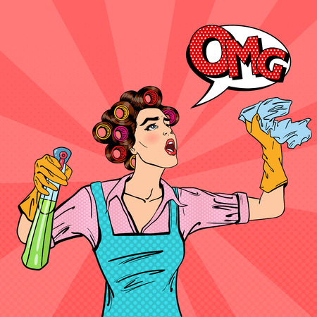 Housewife Cleaning the House with Spray and Rag. Pop Art. Vector illustration Фото со стока - 58907473