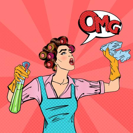 Reinigung des Hauses mit Spray und Rag Hausfrau. Pop-Art. Vektor-Illustration Standard-Bild - 58907473