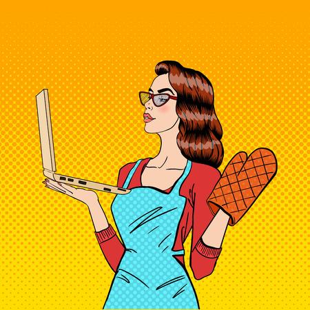 Jonge Huisvrouw in handschoenen en schort met Laptop. Pop Art. vector illustratie