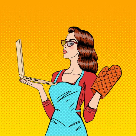 woman laptop happy: Young Housewife in Gloves and Apron with Laptop. Pop Art. Vector illustration