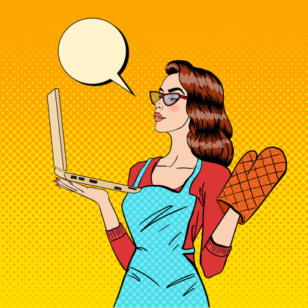Young Housewife in Gloves and Apron with Laptop. Pop Art. Vector illustration