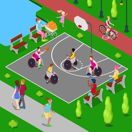 Isométrica de juegos de baloncesto. Las personas con discapacidad que juegan a baloncesto en el parque. ilustración vectorial