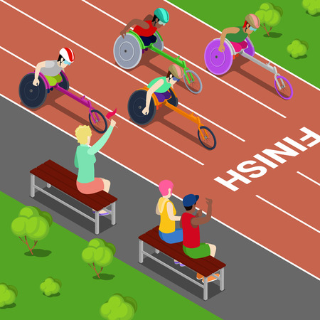 handicapped: Disabled Sports. Handicapped People Racing in a Competition. Isometric vector illustration Illustration