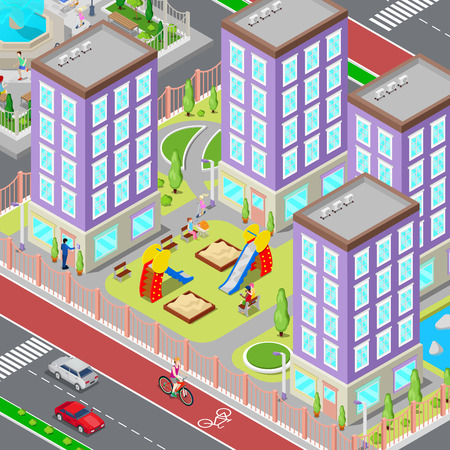 dormitory: Isometric City Sleeping Dormitory Area. Modern Yard with Houses and Playground. Vector illustration