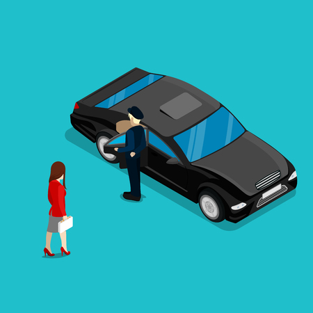 chauffeur: Successful Business Woman Near Luxury Car. Isometric People. Vector illustration Illustration