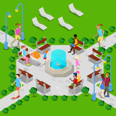 city park fountain: Isometric City Park with Fountain. Active People Walking in Park. Vector illustration Illustration