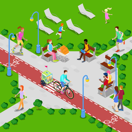 walking path: Isometric City Park with Bicycle Path. Active People Walking in Park. Vector illustration