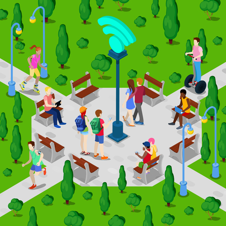 wireless connection: Isometric City Park with Wi-Fi Hotspot. Active People Using Wireless Internet Connection Outdoor. Vector illustration Illustration