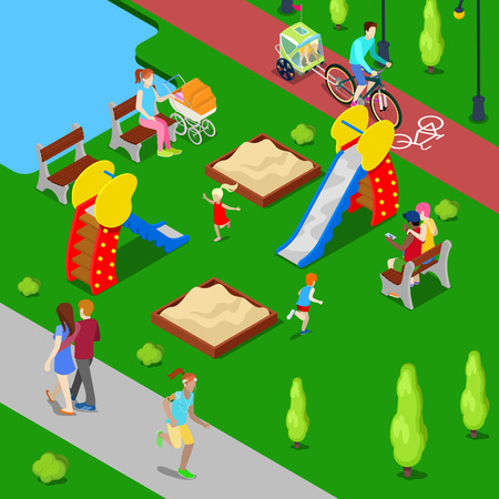 children playground: Isometric City. City Park with Children Playground and Bicycle Path. Vector illustration