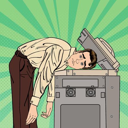 Businessman Stressed in Office. Stress at Work. Pop Art. Vector illustration 일러스트