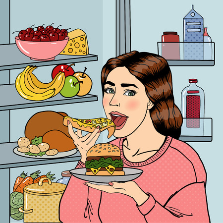 overeat: Hungry Woman Eating Unhealthy Food Near Fridge. Pop Art. Vector illustration