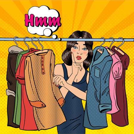 Beautiful Young Woman Choosing Clothes in her Wardrobe. Pop Art. Vector illustration