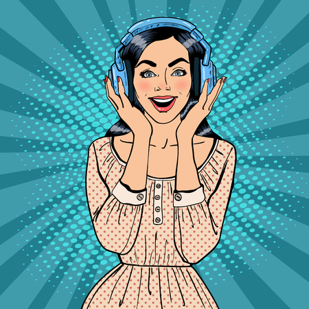 listening to music: Excited Young Woman Listening Music. Girl in Headphones. Pop Art. Vector illustration