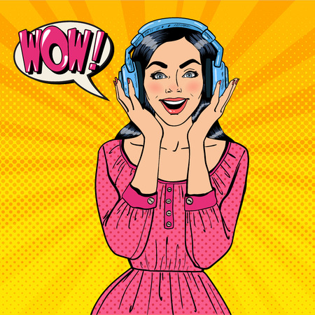 listening: Excited Young Woman Listening Music. Girl in Headphones. Pop Art. Vector illustration