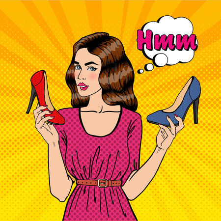 choosing: Beautiful Young Woman with Shoes. Girl Choosing Shoes, Pop Art. Vector illustration