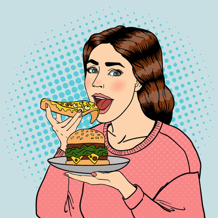 overeat: Hungry Woman Eating Unhealthy Food. Pop Art. Vector illustration