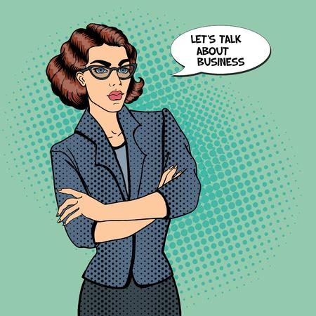 confident: Confident Young Businesswoman. Pop Art. Vector illustration