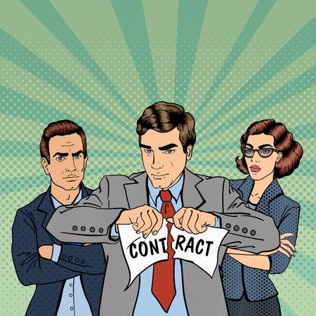 breach: Breach of Contract. Unsuccessful Business Negotiations. Serious Businessman. Pop Art. Vector illustration
