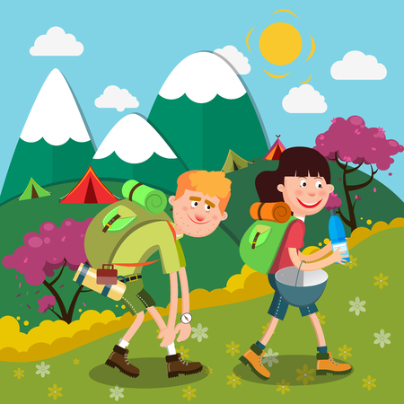 couple hiking: Happy Couple Hiking on the Mountains. Active People. Vector illustration Illustration