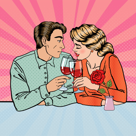 Romantic Couple with Glasses of Wine in Restaurant. Pop Art. Vector illustration Ilustração