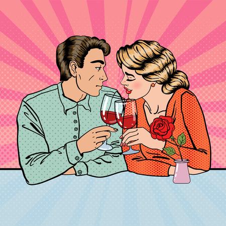 Romantic Couple with Glasses of Wine in Restaurant. Pop Art. Vector illustration Illustration