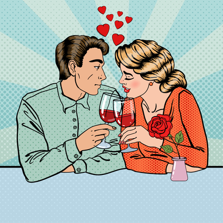 romantic couple: Romantic Couple with Glasses of Wine in Restaurant. Pop Art. Vector illustration Illustration