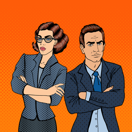 Misunderstanding at Work. Confrontation Between Businessman and Businesswoman. Pop Art. Vector illustration