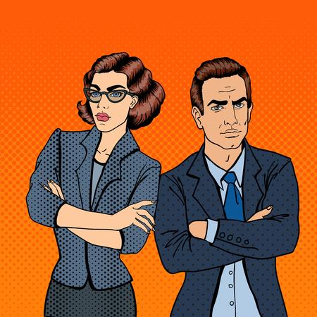 Misunderstanding at Work. Confrontation Between Businessman and Businesswoman. Pop Art. Vector illustration Vetores