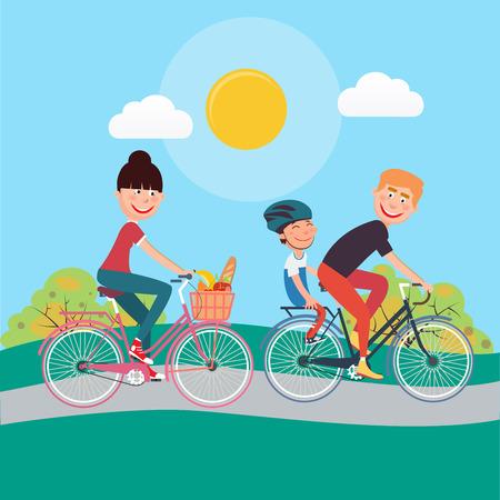 Happy Family Riding Bikes. Frau auf dem Fahrrad. Vater und Sohn. Vektor-Illustration Standard-Bild - 59661331