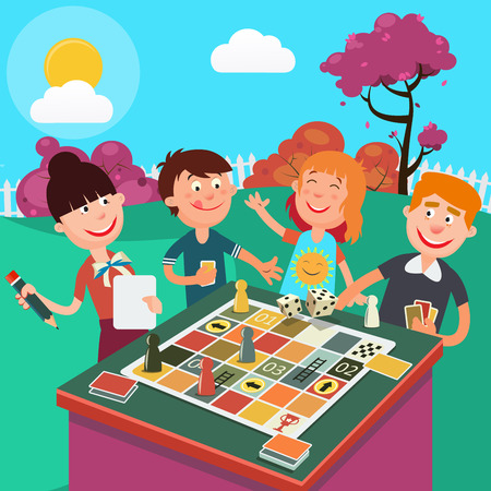 Family Playing Board Game Outdoor. Happy Family Weekend. Vector illustration