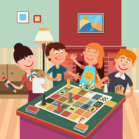 family playing: Family Playing Board Game. Happy Family Weekend. Vector illustration