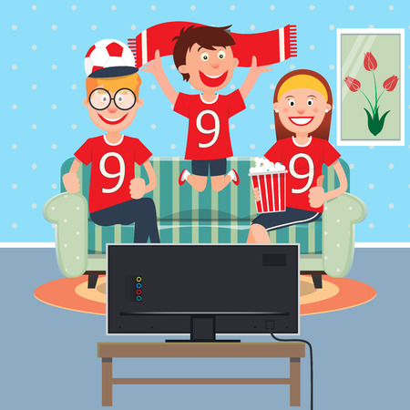 father and child: Happy Family Watching Football Together on TV. Vector illustration Illustration